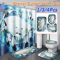 US Moon Wolf 180cm Shower Curtain 12 Hook Bathroom Lid Toilet Rug Bath Mat