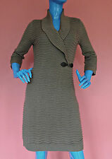 Calvin Klein Womens Wavy Ribbed Knit Sweater Dress M 8 10 12 Shawl Neck Bodycon