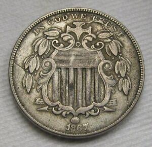 1867 Shield Nickel VF Coin No Rays Broken Die Die Breaks Estate Piece AE312
