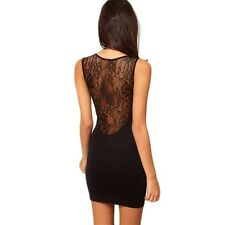 Hot Sexy Women Lace Mini Dress Cocktail Black Hollow out Skirt Clubwear SS