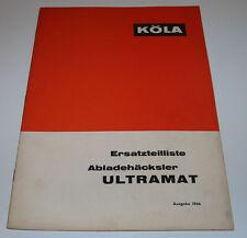 Ersatzteilliste Köla Abladehäcksler Ultramat Ersatzteilkatalog Ausgabe 1966