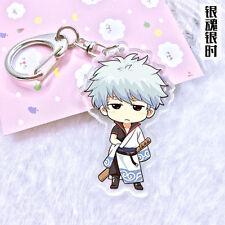 Cute Anime Carton Sakata Gintoki Keychain GINTAMA  Acrylic Key Ring Keychain