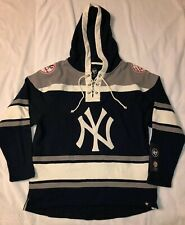 New York Yankees '47 Brand Mens Lacer Hooded Jersey Sweatshirt Size- Large