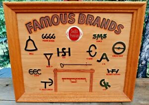 Vintage Western Cattle Brands Sign Store Display for Swift's Premium Meats