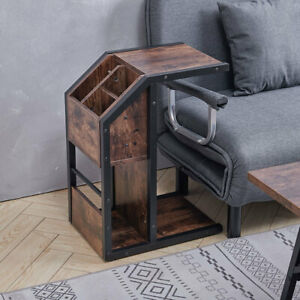 Industrial C-Shaped Sofa Side Coffee Table End Table With Storage Lamp Stand