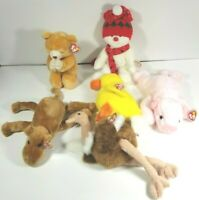 Lot of 6 Retired 1998 & 1999 Beanie Baby Buddies Snowman, Ostrich, Camel, Duck