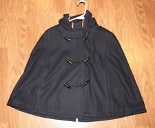 AMERICAN EAGLE cape navy blue Hooded wool blend toggle buttons size M ec