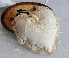 !Hand Crochet Lace Ribbon Rose Embroidery Cotton Heart Shape Doily Satchel Beige
