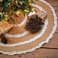 "48"" Burlap Natural & Creme Voile Ruffled Christmas Tree Skirt by VHC Brands"