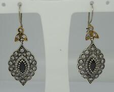 Antique Style Sterling Silver & Gold Paste Set Drop Earrings