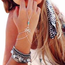 Charms Tassel Silver Plated Bracelet Slave Chain Link Finger Ring Hand Harness