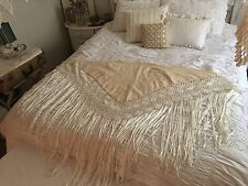 BEST! Vintage Macramé Crochet Cream Wool Silk Fringe Piano Scarf Shawl Wrap