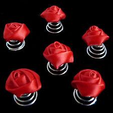 6 épingles spirales twister cheveux mariage mariée fleur rose en satin rouge vif