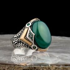 Sterling 925 Silver Handmade Jewelry Green Agate Men's Ring Size 10