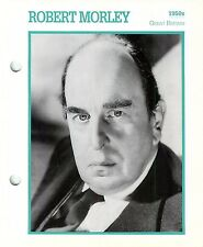 Robert Morley 1950's Actor Movie Star Card Photo Front Biography on Back 6 x 7""