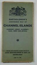 1947 alte Vintage Bartholomew's konturierte Karte der Kanalinseln Guernsey Jersey