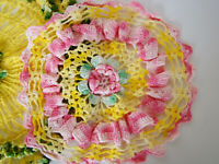 Vintage Pansey Doilys Doilies Crocheted set of 2 Green Yellow Pink 11 & 14 Inch