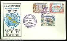 LAOS  CENTENARY OF THE INT'L TELECOMMUNICATION UNION SET FIRST DAY COVER