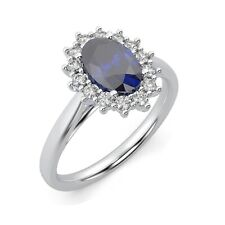 100% Natural 1.50 Ct Sapphire And Diamond Cluster Ring in White Gold