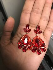 """2"""" Red Gold Dangle Drop Rhinestone Prom Long Crystal Pageant Earrings"""