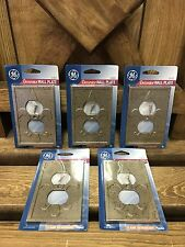 New GE Decorator Outlet Cover Wall Plate Pewter Color Box of 5