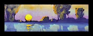 W HAWKINS Colorful Sunset Landscape Impressionism Lake Original Oil Painting Art