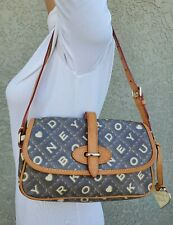 Dooney & Bourke CROSSWORD flap small hobo baguette shoulder purse bag tote satch