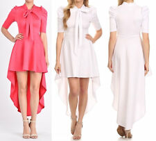 Plus Hi Lo Skirt Mini Maxi Dress Mock Neck Tie Puff Shoulder Short Sleeve