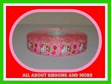 1 INCH HELLO KITTY WITH CHERRIES ON PINK GROSGRAIN RIBBON-1  YD