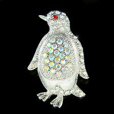 Penguin~ made with Swarovski Crystal AB Antarctica Bird Emperor Pin Brooch Xmas