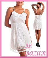 vestito donna mini abito inserti pizzo bianco,tes. fisarmonica spalle tg S,M,L