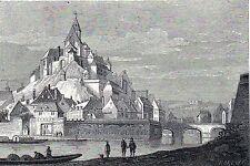 Antique print Namen castle  - gravure Le Château de Namur prent kasteel