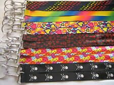 Lot 12 Lanyard Key Chains/ Smile Face Peace Sign Skull Hearts Polka Dot Rainbow