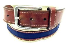 $199 TOMMY HILFIGER Men's BEIGE BLUE CANVAS LEATHER DRESS CASUAL BUCKLE BELT 32