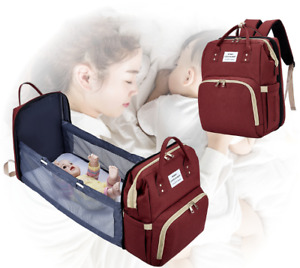 Mummy Backpack Portable 3 in 1 Baby Nappy Changing Bag Toddler Travel Cot Bed