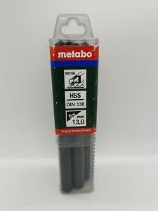 Metabo 5x HSS-R METAL DRILL BITS 13MM X 151MM DIN338