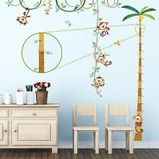 Decowall Monkey Height Chart Nursery Removable Wall Stickers Decal DA-1607