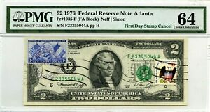 2 DOLLARS 1976 FIRST DAY STAMP CANCEL MARQUIS DE LAFAYETTE LUCKY MONEY $3000