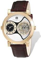 Mens Charles Hubert IP Rose Leather Band 46mm Dual Time Watch