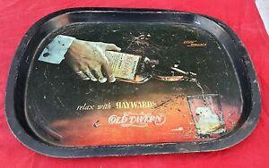 Vinage Haywards Old Tavern Whiskey Adv. Litho Print Tin Serving Tray