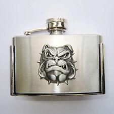Flachmann Flask Buckle Schnaps-Flasche Trink Bulldog Fun Gürtelschnalle  * 591