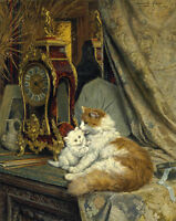 A mother cat and kitten, Henriette Ronner-Knip giclee fine ART CANVAS print