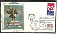 US SC # 1825 Veterans Administration FDC. Double cancel .Colorano Silk Cachet
