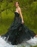 $6990 New Oscar de la Renta Strapless Sweetheart Green Polka Dot black Gown 0 2