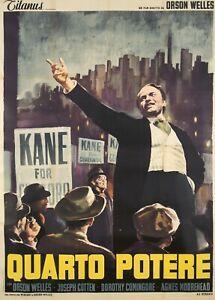 Original Vintage Poster Citizen Kane Italian Film Orson Welles 1948