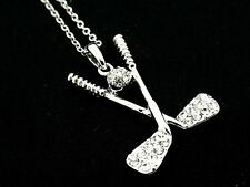 Hockey Sticks Puck Crystal Pendant Women Necklace Silver Plated Chain New