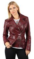 Ladies Burgundy Feminine 100% Leather Brando Biker Jacket