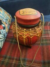 Wooden Decorative Hanging Basket Holder With Lid Wicker String Red Chinoiserie