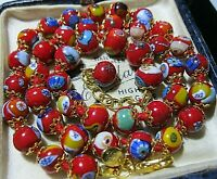 """Red Millefiori Venetian Murano Glass Bead 18"""" Long Vintage Style NECKLACE"""