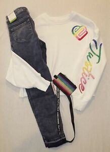 Justice white rainbow logo sweatshirt size 12 NWT repreve jeans & ID holder HCB
